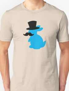 BLUE Bunny rabbit in a Top hat with a moustache  Unisex T-Shirt