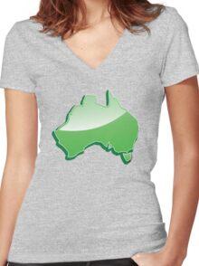 Aussie Australian map of Down under Women's Fitted V-Neck T-Shirt