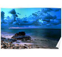 Blue cloudy seascape  Poster