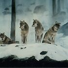"""Wolves - wolves sitting and watching in the snow"" by Spenceartist"
