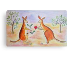 Adorable Kangaroos in love Metal Print