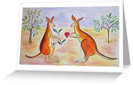 Adorable Kangaroos in love by daffodil