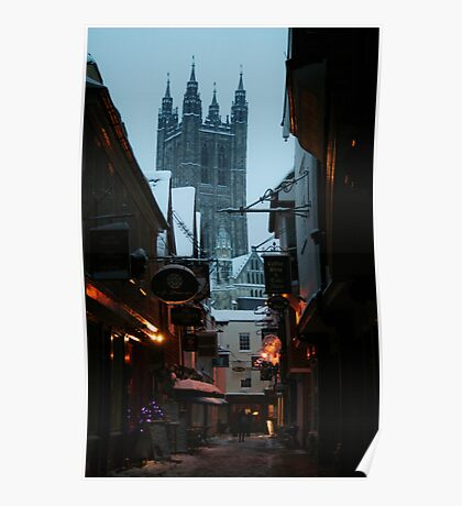 Cathedral from Butchery Lane (Canterbury in the Snow 2010) Poster