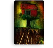 Red House In A Tree Canvas Print