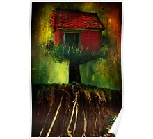 Red House In A Tree Poster