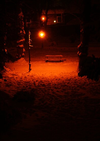 A Lonely Bench (Canterbury in the Snow 2010) by JJFA