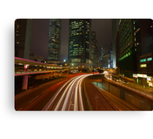 Connaught Road at Night. Canvas Print