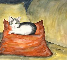 Kitten on Silk Cushion by CarolineLembke