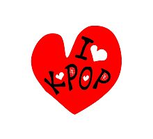 I love k-pop txt heart vector graphic line art Photographic Print