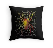 Colourful Spider on Black Background Throw Pillow