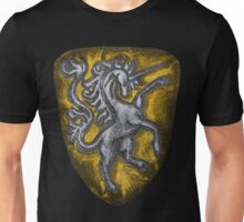 Silver and Gold Leather Heraldic Unicorn Shield - Medieval, Royal, Metallic, Historic Unisex T-Shirt