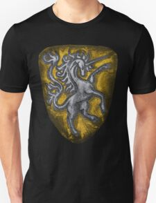 Silver and Gold Leather Heraldic Unicorn Shield - Medieval, Royal, Metallic, Historic T-Shirt