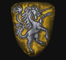 Silver and Gold Leather Heraldic Unicorn Shield - Medieval, Royal, Metallic, Historic Unisex T-Shirt