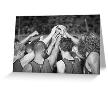 """Go Team"" -pulling together as a team (b/w) Greeting Card"
