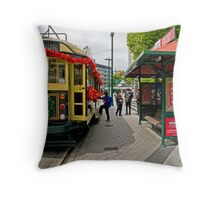 Christmas Tram - Christchurch New Zealand Throw Pillow
