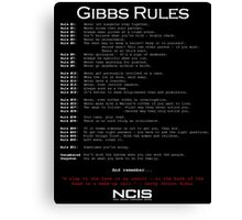 NCIS - GIBBS RULES  Canvas Print