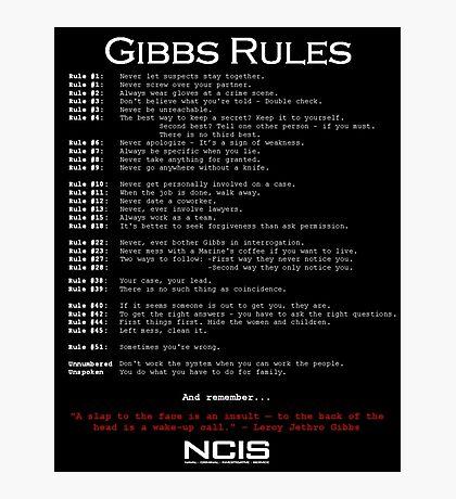 NCIS - GIBBS RULES  Photographic Print