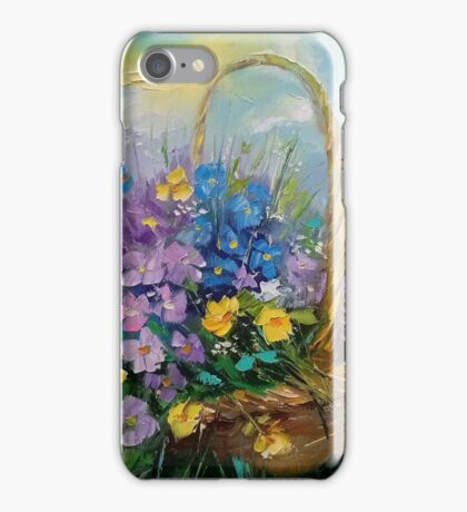Bouquet of wild flowers in a basket iPhone Case/Skin