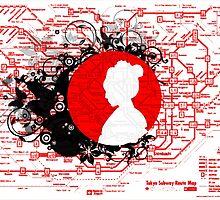 Modern Japan Tokyo Metro Map by vivalarevolucio