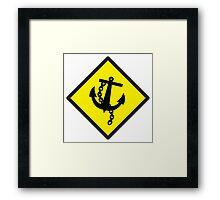 Navy Anchor warning sign yellow Framed Print