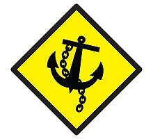 Navy Anchor warning sign yellow Photographic Print