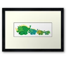 Four dinosaurs cute mother and babies Framed Print