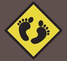 cute warning sign of feet Baby Tee
