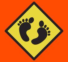 cute warning sign of feet Kids Tee