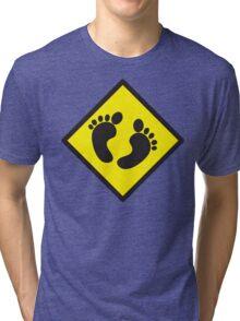 cute warning sign of feet Tri-blend T-Shirt