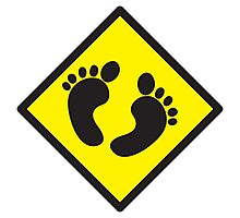 cute warning sign of feet Photographic Print