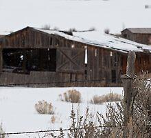 Snowy Barn thru fence by Jeanne Frasse