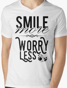 Smile more worry less Mens V-Neck T-Shirt