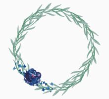 Watercolor Wreath with blue flower Kids Clothes