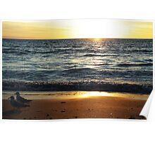 Evening stroll - West Beach, South Australia Poster