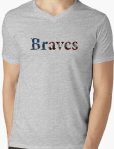 Braves American Flag Mens V-Neck T-Shirt