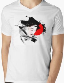 Japanese Geisha Mens V-Neck T-Shirt