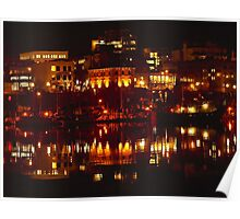 Wharf Street At Night Reflected 2 Poster