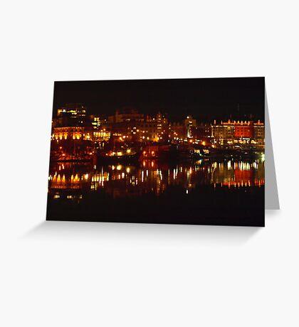 Wharf Street At Night Reflected 1 Greeting Card