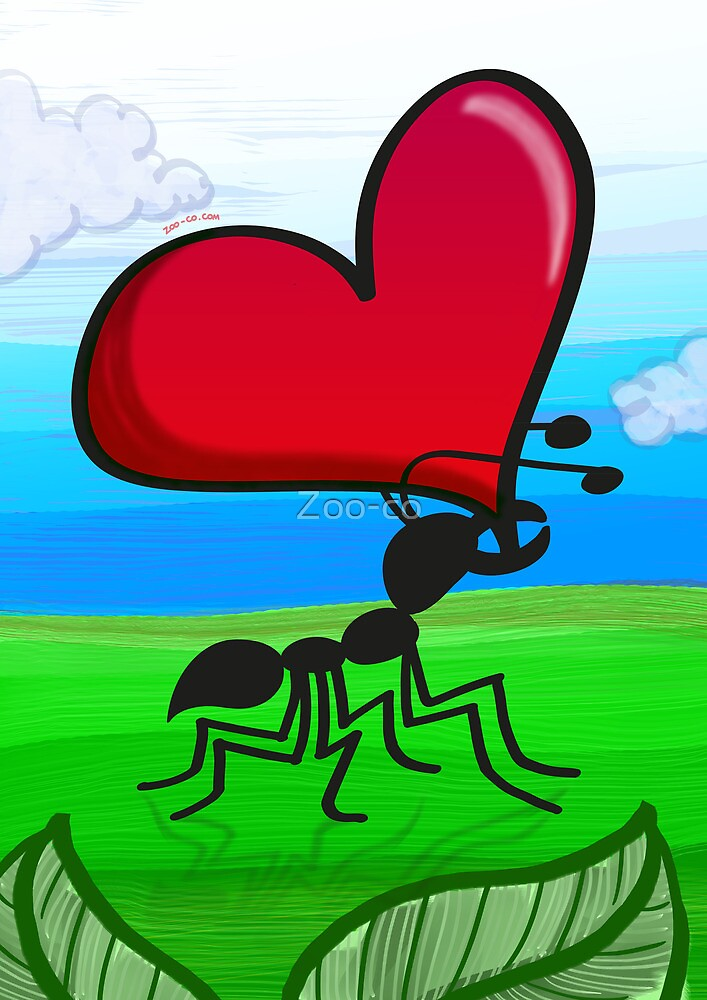 Ant Carrying the Love's Heart by Zoo-co