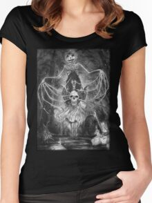 Watch Out For The Ghouls During Halloween Women's Fitted Scoop T-Shirt