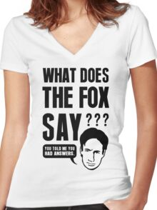 Fox Mulder - What Does The Fox Say Women's Fitted V-Neck T-Shirt