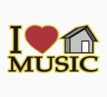 I LOVE HOUSE MUSIC LOGO TEE: YELLOW OUTLINE by S DOT SLAUGHTER