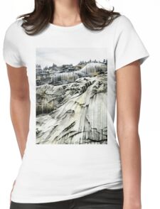 Yosemite NP: 'Winter Stone' - Watercolours. Womens Fitted T-Shirt
