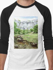 'Malham Cove', North Yorkshire - Watercolours. Men's Baseball ¾ T-Shirt