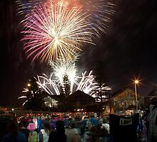Australia Day Fireworks - Freo by Peter Whitworth
