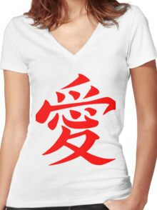 Chinese Love Symbol Red Women's Fitted V-Neck T-Shirt