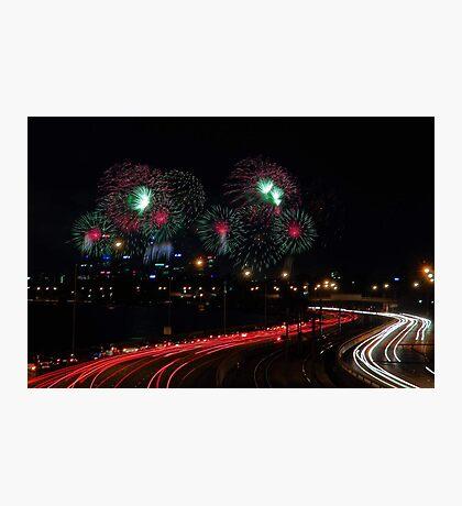 Australia Day Skyworks - Perth Western Australia  Photographic Print