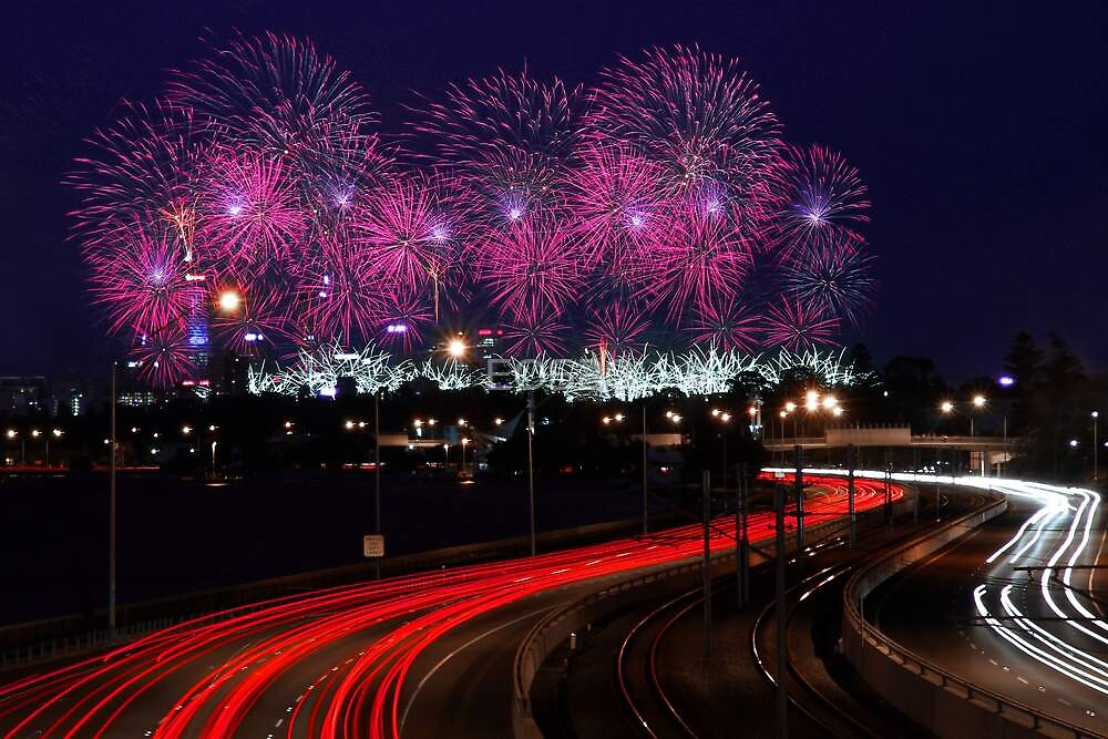 Australia Day Skyworks - Perth Western Australia  by EOS20
