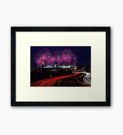 Australia Day Skyworks - Perth Western Australia  Framed Print