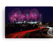 Australia Day Skyworks - Perth Western Australia  Canvas Print
